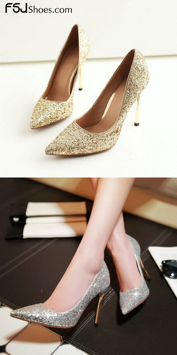 e3553c2082b Women s Style Pumps and D orsay Heels Winter Fashion Gold and Silver  Glitter Pointy Toe Stiletto Heels Wedding Shoes Elegant Wedding Dresses  Shoes New Year ...