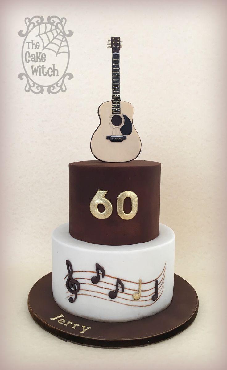 Guitar 60th Birthday Cake Velvet Texture 3d Guitar The