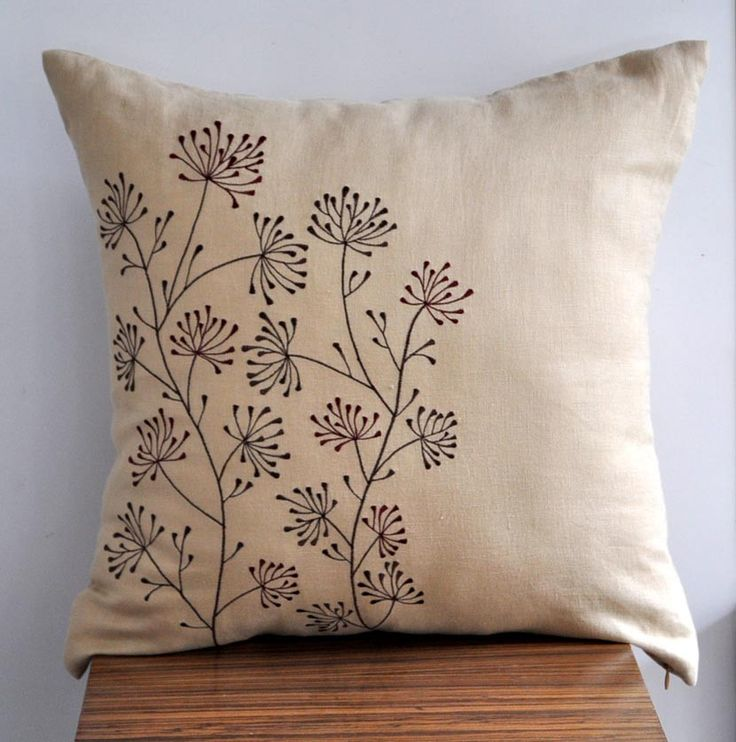 Ixora Throw Pillow Cover 18 x 18 Embroidered by KainKain on Etsy