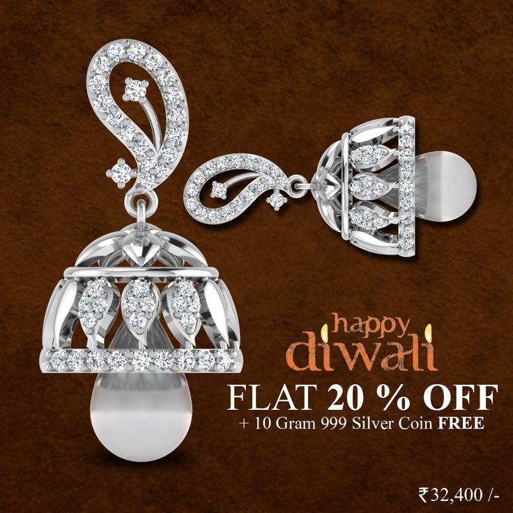 Diwali special offers fabulous discounts on all diamond jewellery  #HappyDiwali #Jhumkas #DiamondJhumkas #IskiUski