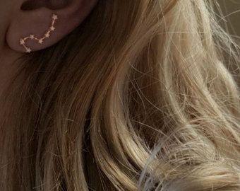 Grimpeur d'oreille en or, veste de l'oreille Grande Ourse, veste d'oreille en argent, veste en flèche d'oreille, bijoux de tous les jours, oreille d'infini meilleur ami cadeau, boucles d'oreilles Gipsy,