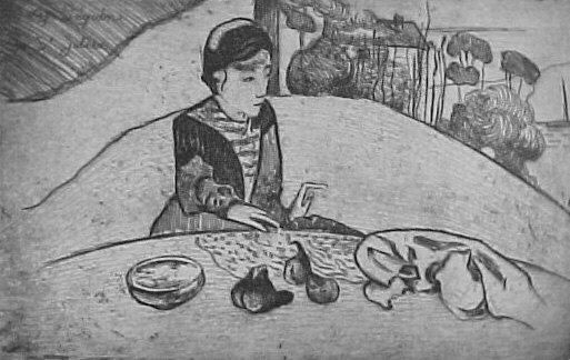 Eugène Henri Paul Gauguin (1848-1903) Woman with Figs, 1894 Etching on paper Sheet: 14 1/2 x 20 3/8 in. (36.8 x 51.8 cm) Plate: 10 1/2 x 16 5/8 in. (26.7 x 42.2 cm) Hermina, Movses, Charles and David Allen Devrishian Fund, 2000 The Metropolitan Museum of Art, New York. 2000.610