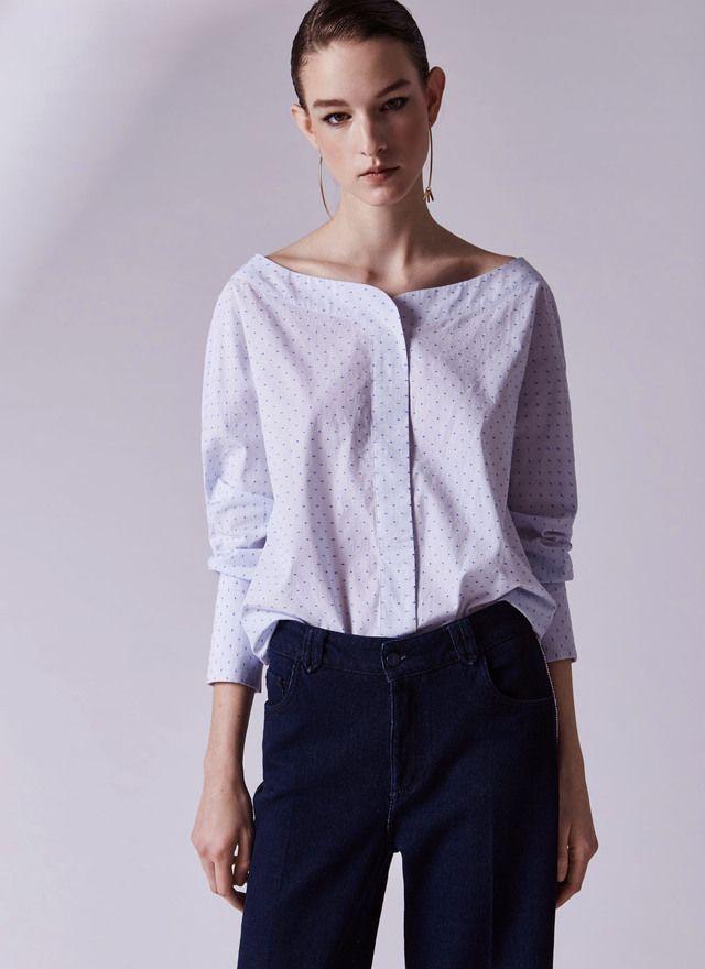 Plumetis shirt with wide neckline - Shirts & Blouses | Adolfo Dominguez shop online