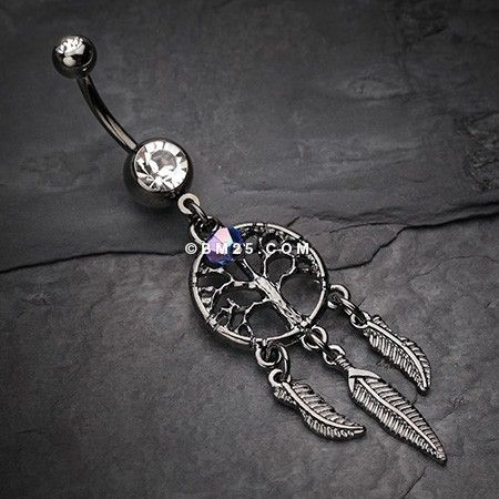 The Tree of Life Dreamcatcher Feather Hematite Belly Button Ring