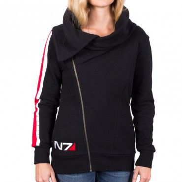 """Ladies N7 Armour Stripe. In celebration of N7 day, we bring you this beautiful jacket with an unusual cowl neck. So much more exciting that the traditional """"apparel"""" gaming hoody, hopefully this starts a trend of lovely, fashionable ladies gaming accessories."""
