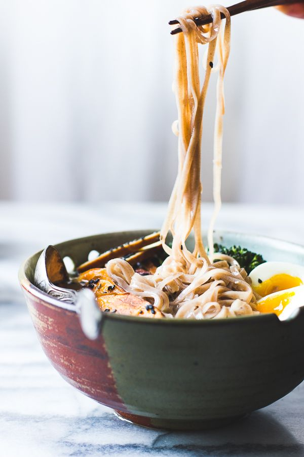 The Bojon Gourmet: Vegetarian Miso Ramen with Rice Noodles, Roasted Sweet Potatoes + Sesame Broccolini: