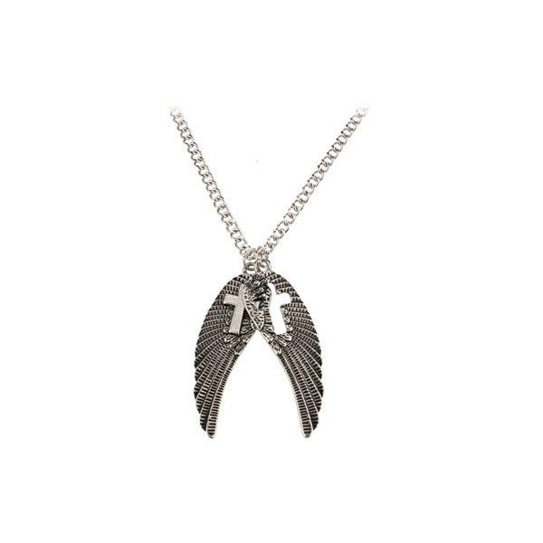 Fad Treasures Double Wing With Cross Detail Pendant ($7.72) ❤ liked on Polyvore featuring jewelry, pendants, silver cross pendant, cross jewelry, pendant charms, wing pendant and silver pendant