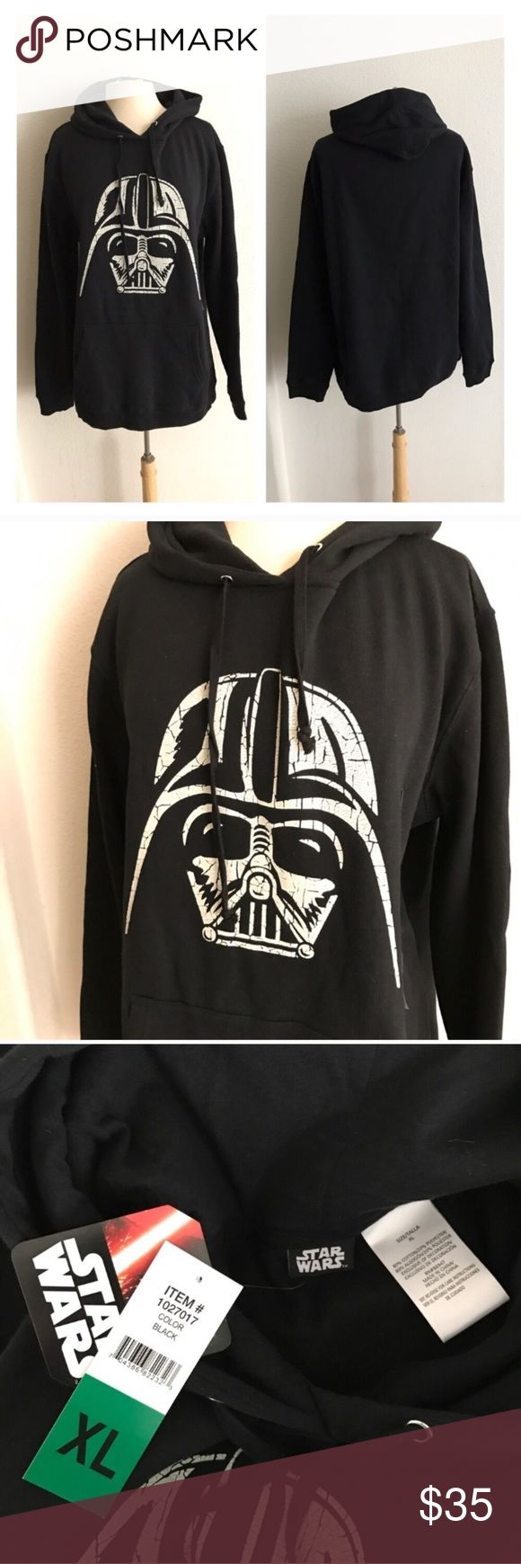 "Men's Darth Vader fleece lined hoodie Fleece lined Darth Vader hoodie. Measures 30"" long with a 44"" bust. It fits me and I'm a woman's 2x/16/18. This does have some fuzzies on it from being stored,  but its brand new and never worn.  💲Reasonable offers accepted ✅Bundle offers Star Wars Jackets & Coats"