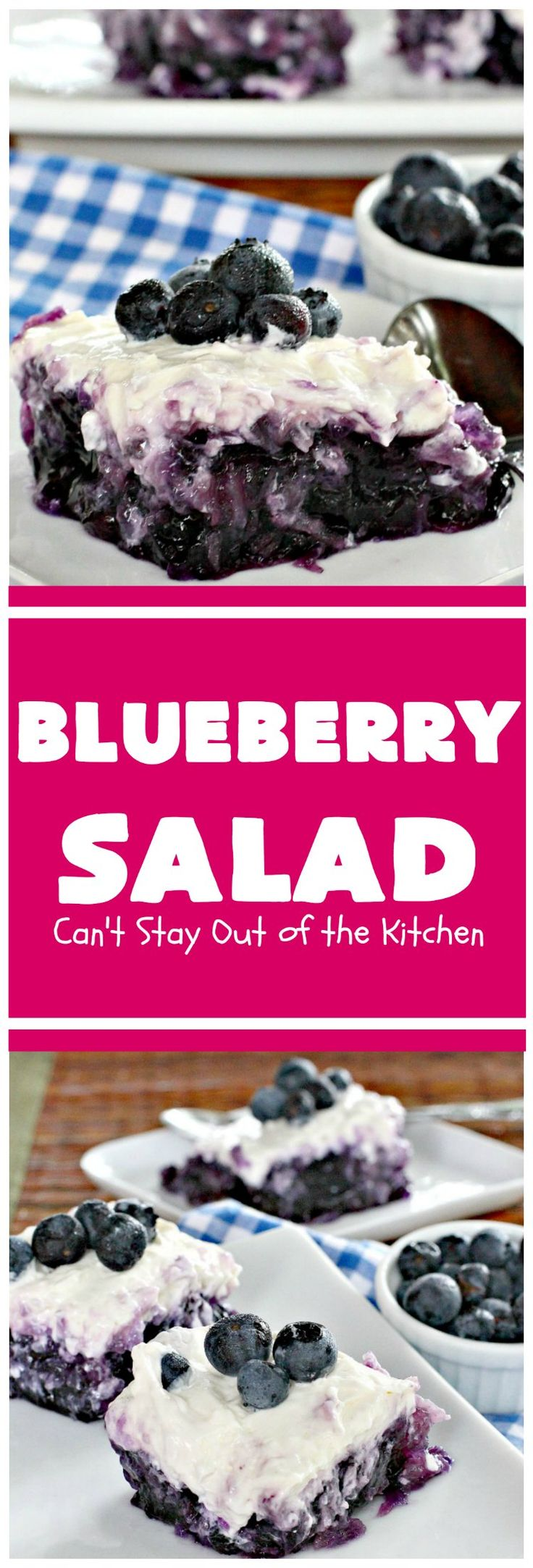 Blueberry Salad | Can't Stay Out of the Kitchen | this is one of our favorite side dishes. It uses #blueberry pie filling, #pineapple & has a #creamcheese topping. It's perfect for any #holiday menu. #salad #glutenfree