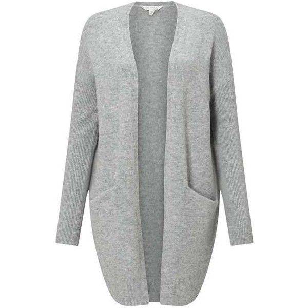 Grey Slouchy Knitted Cardigan (510 NOK) ❤ liked on Polyvore featuring tops, cardigans, gray cardigan, slouchy cardigan, slouchy tops, grey top and miss selfridge
