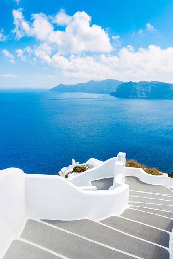 Santorini White Steps + Blue Sea