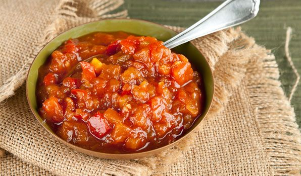 Sweet Tomato Ketchup   By: Stefano Faita   This French Canadian tomato and fruit ketchup is similar to a chutney or relish. Serve with Stefano's Tourtiére.   From: cbc.ca