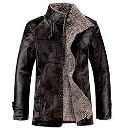 Chouyatou Men's Pu Leather Mid-length Washed Trench Coat Fur Lining Jacket (Large, Yellow) at Amazon Men's Clothing store: