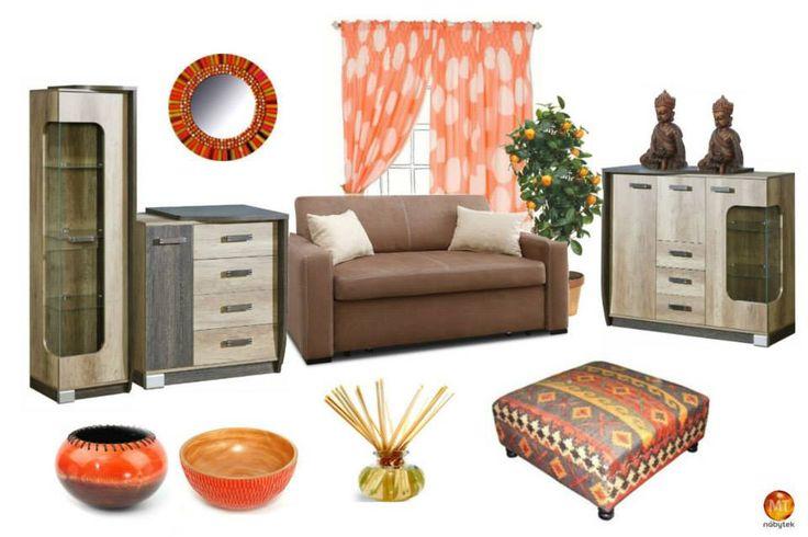 Nábytek s dezénem dřeva snadno dozdobíte ve všech barvách. Pokud máte rádi teplé a jasné barvy, oranžová je ta pravá