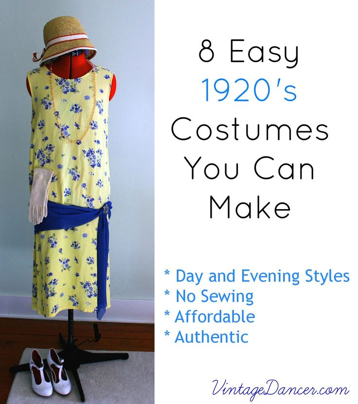 You can create an authentic 1920s costume! 8 easy 1920s costume ideas for day wear, evening wear, Great Gatsby, Downton abbey, flappers, & plus sizes