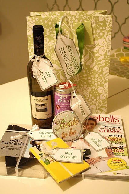 Bride to Be Survival Kit. I want to do something like this for my friend.