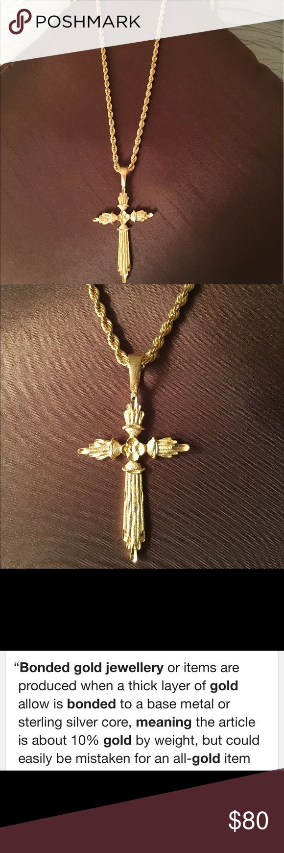 Big and bold 14K gold bonded rope chain and cross Big and beautiful shiny 14K gold bonded rope chain and cross. Very durable ever fades or tarnish, life time Warranty. New never been worn Jewelry Necklaces