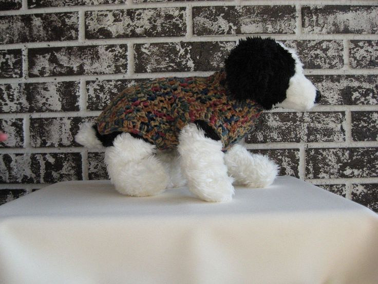 Dog sweater, xs dog sweater, sm dog sweater, dog sweater in tan/blue/rose multicolor by cronincreations on Etsy