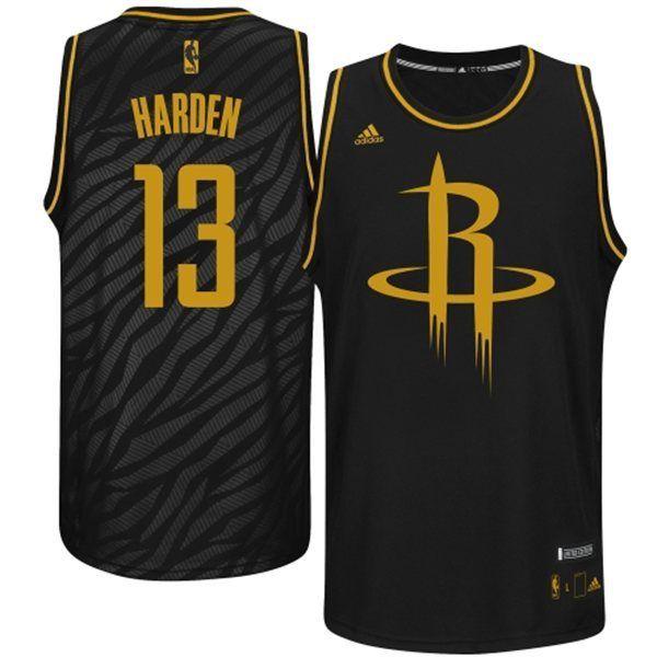 5d3739a69 Adidas NBA Houston Rockets 13 James Harden Static Fashion Swingman Black  Gold Jerseys