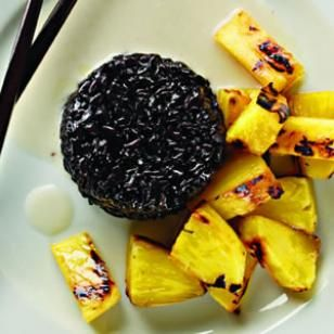 Grilled Pineapple with Coconut Black Sticky Rice Recipe. just bought black sticky rice - excited to try this!