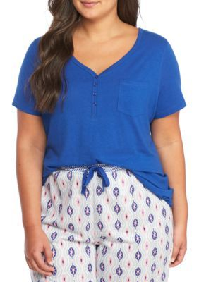 New Directions Women's Plus Size Short-Sleeve Henley Tee - Blue King - 1X