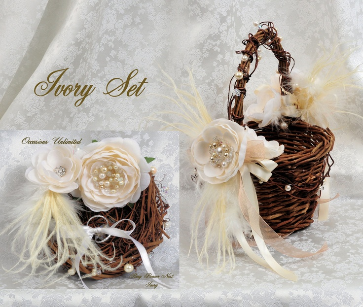 25 best rustic bling images on pinterest wedding decor weddings flower girl basket ring bearer set rustic bling pearl crystals feathers cream ivory 8000 junglespirit