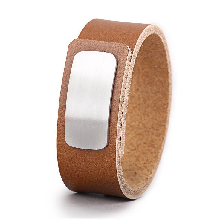 Wear Clint - Tuigleren armband (25mm / cognac) met RVS-sluiting. Een stoer design voor mannen en vrouwen!