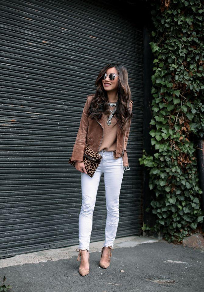 Suede moto jacket + white jeans + tan sweater + silver necklace + tassel pumps