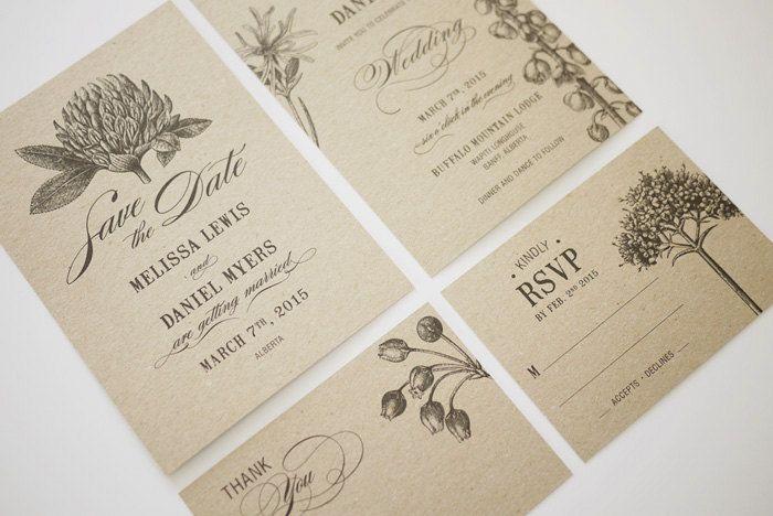 1 color botanic drawings-very simple  Botanic Garden Wedding Invitations Printable Template Set of 4