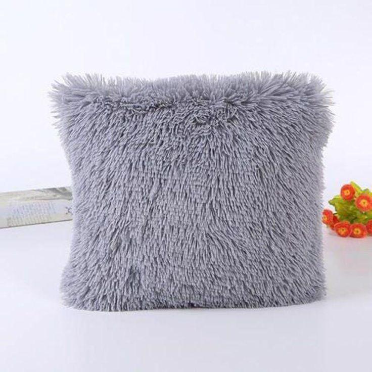 Fluffy Cushion Cover Grey