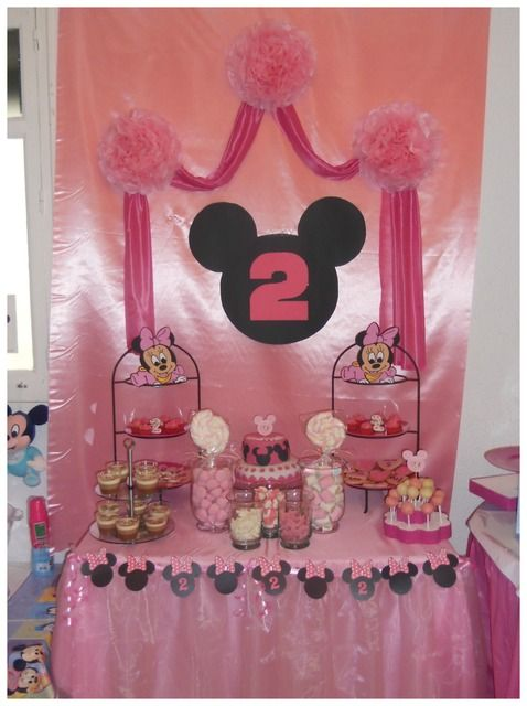 "DISNEY- MINNIE AND MICKEY MOUSE / Birthday Party Candy Bar Table of Ideas ~ ""2ND BIRTHDAY"""