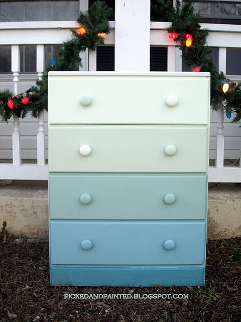 ombre dresserOmbre Dressers, Ombre Hair, Old Dressers, Mud Room, Colors Palettes, Baby Room, Painting Dressers, Boys Room, Chest Of Drawers