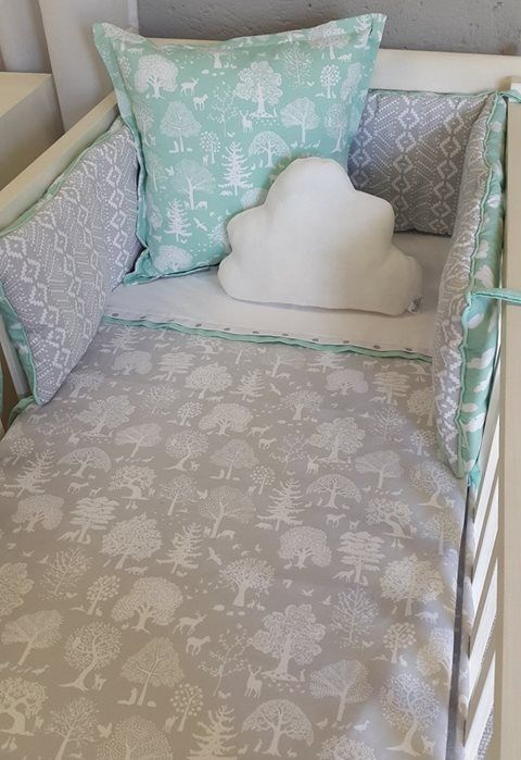 Our #LittleWoodlands fabrics are perfect for any #Mint and #Grey nursery, great for both a #BabyBoy or a #BabyGirl!   #BabyBedding #BabyLinen
