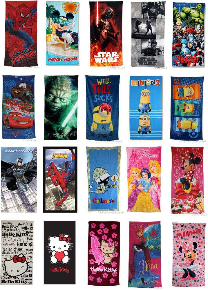 Si tu cherches un drap de plage original de ton héros préférés Avengers, Cars, Spiderman, de ta série fétiche Mickey, Calimero, de la saga Star Wars, d'un film avec un humour décalé comme Moi moche et méchant (Minions) ou d'un film féérique et enchanté comme La reine des neiges, alors tu trouveras un choix varié sur kid-avenue.com