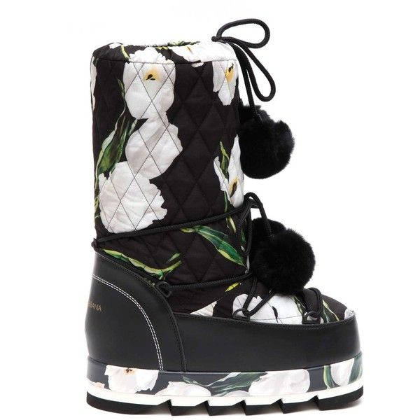 DOLCE & GABBANA 'Tulip' printed moon boot ($765) ❤ liked on Polyvore featuring shoes, boots, moon boots, dolce gabbana boots and dolce gabbana shoes