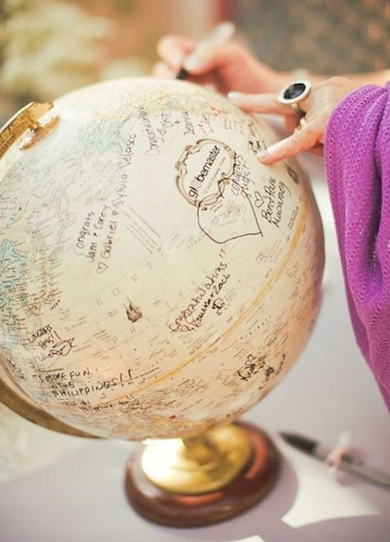10 Unique Wedding Guest Book Ideas: We love the look of this vintage globe and it only gets better when filled with the well wishes of your nearest and dearest. http://www.colincowieweddings.com/inspiration-and-details/10-unique-wedding-guest-book-ideas