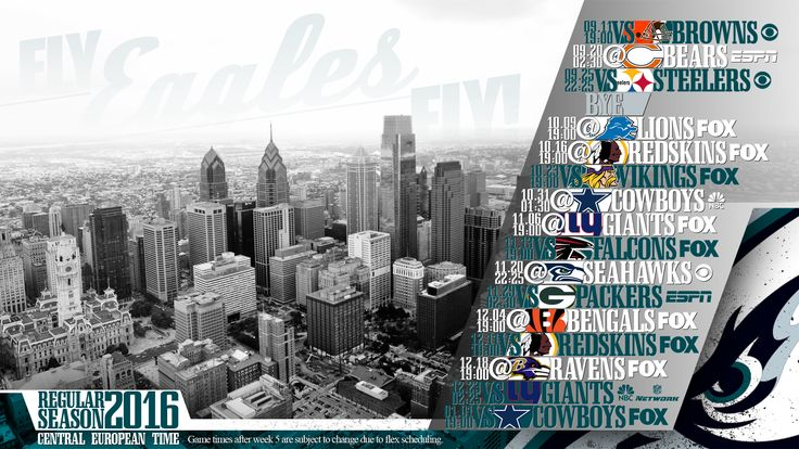 Schedule wallpaper for the Philadelphia Eagles Regular Season, 2016. All times CET. Made by #tgersdiy