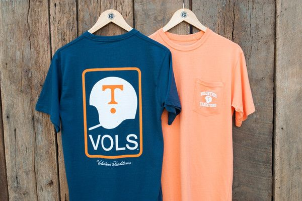 - 100% Cotton Pocket Tee - Questions about sizing? Check here Sizing Chart - Officially Licensed by the University of Tennessee for Classic Vol Fans Available in Washed Navy