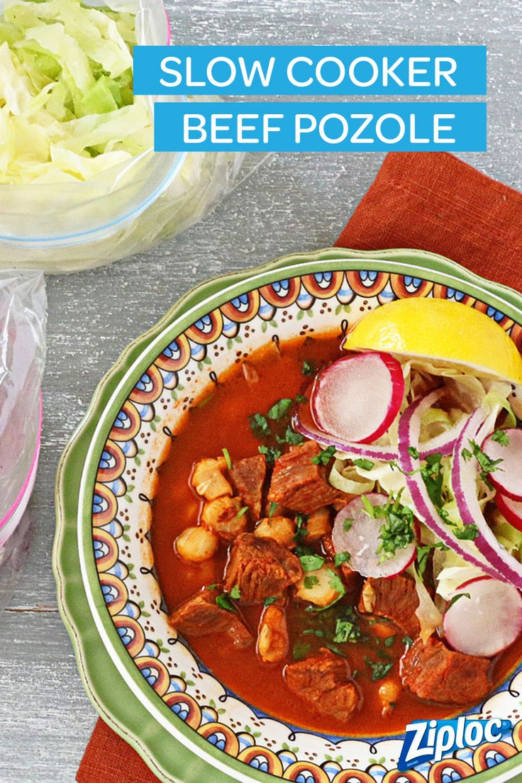 Slow cooker recipes are the best - they're so easy and convenient! Try this slow cooker beef pozole recipe to spice up your next winter meals. Store leftovers in a Ziploc® container for later! Or put in a Ziploc® freezer bag and freeze for much later!