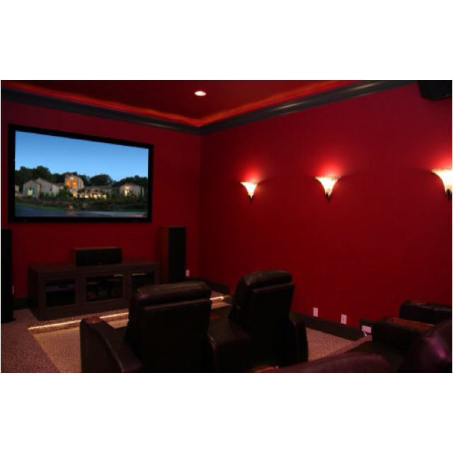 Red Walls Black Trim Media Room Pinterest Movies