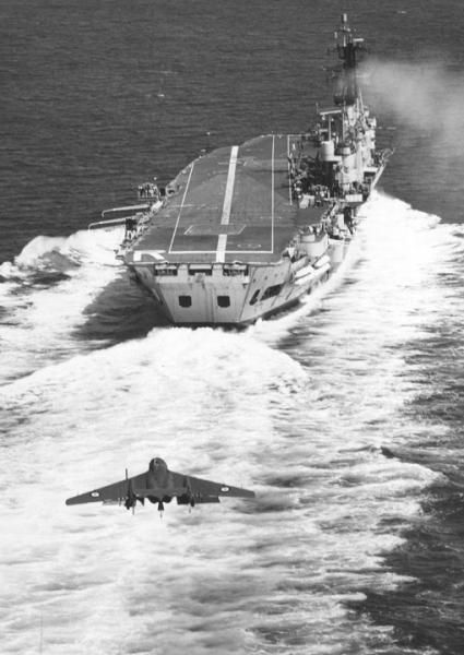 DH.110 Sea Vixen fighter descends for a landing on HMS Ark Royal's angled (skewed) flight deck, c.early 1960s.