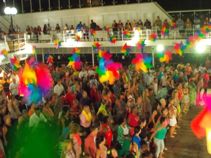 MSC Opera deck party with strong wind