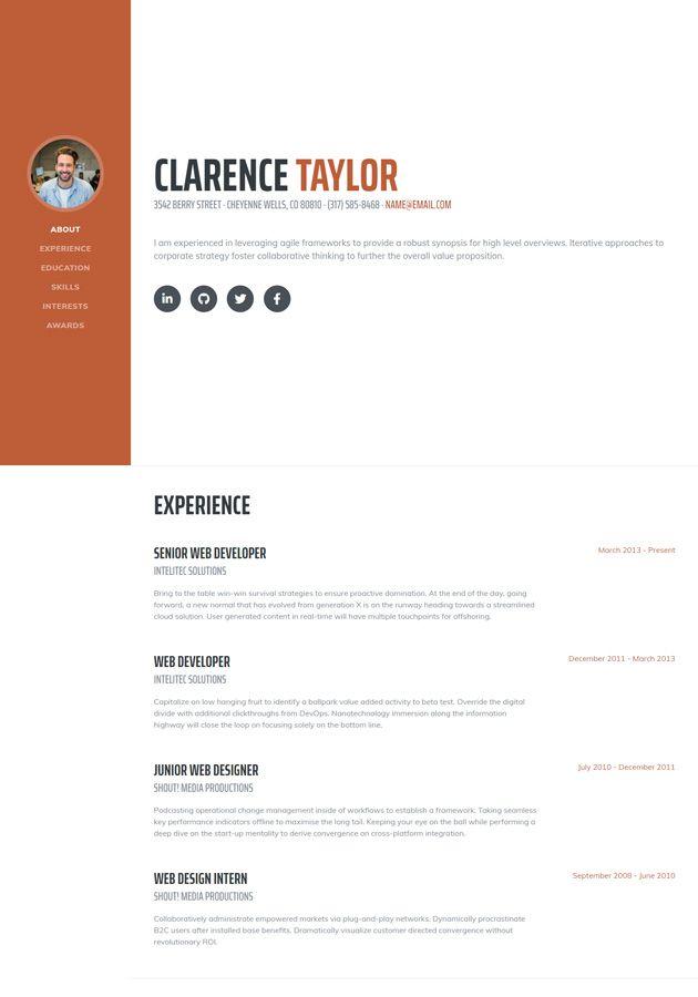 Resume Free Resume Cv Landing Page Bootstrap Template In 2020 Bootstrap Template Landing Page Online Resume Website