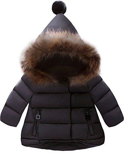 e5de27534 Jojobaby Baby Boys Girls Hooded Snowsuit Winter Warm Fur Collar Hooded Down  Windproof Jacket Outerwear (3-4 Years, Black)$29.99