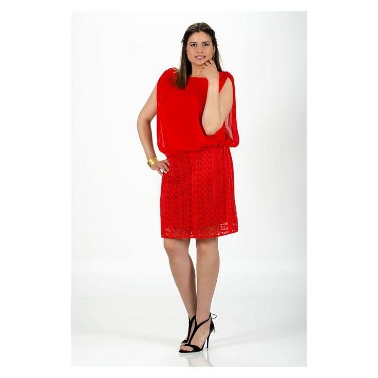 Original #vestido con top de gasa y falda de blonda en color liso de #SPGJenuan disponible en #tallasgrandes, desde la S a la 4XL en mixxtos.com