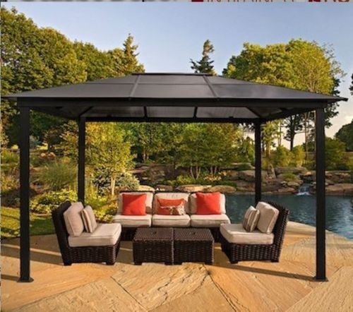 Outdoor patio furniture gazebo pergola hard top cover for Decoration patio exterieur