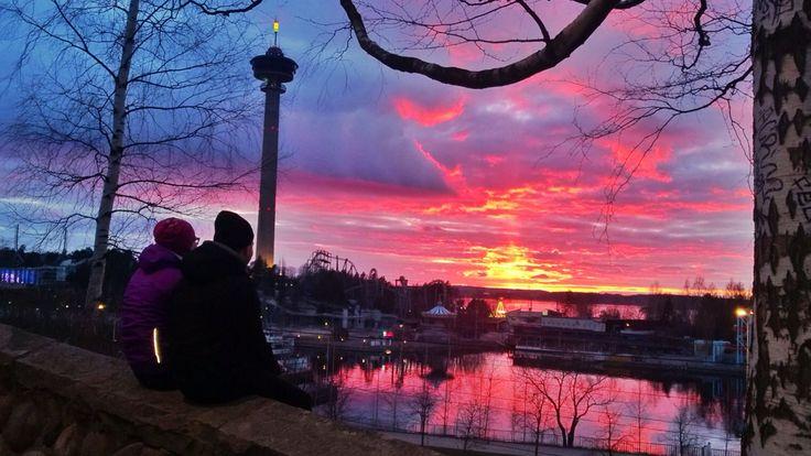 Sunset behind Särkänniemi in March, Tampere, Finland #TampereAllBright