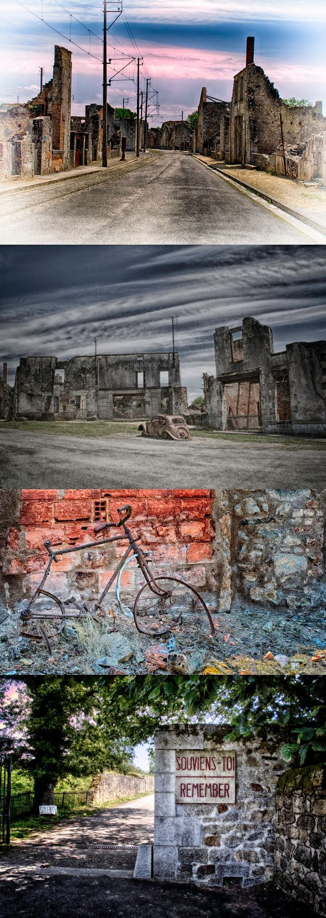 The entire village of Oradour-sur-Glane has been set aside as a French National Memorial, & remains exactly as it was left on June 10th, 1944. The Nazis were looking for a French resistance fighter thought to be hiding in Oradour. The search escalated into a complete slaughter of the men, women and children...over 600...of the village of Oradour-sur-Glane. They then set the village on fire, & many were burned alive.  Photographer Dan Felstead  #memorial