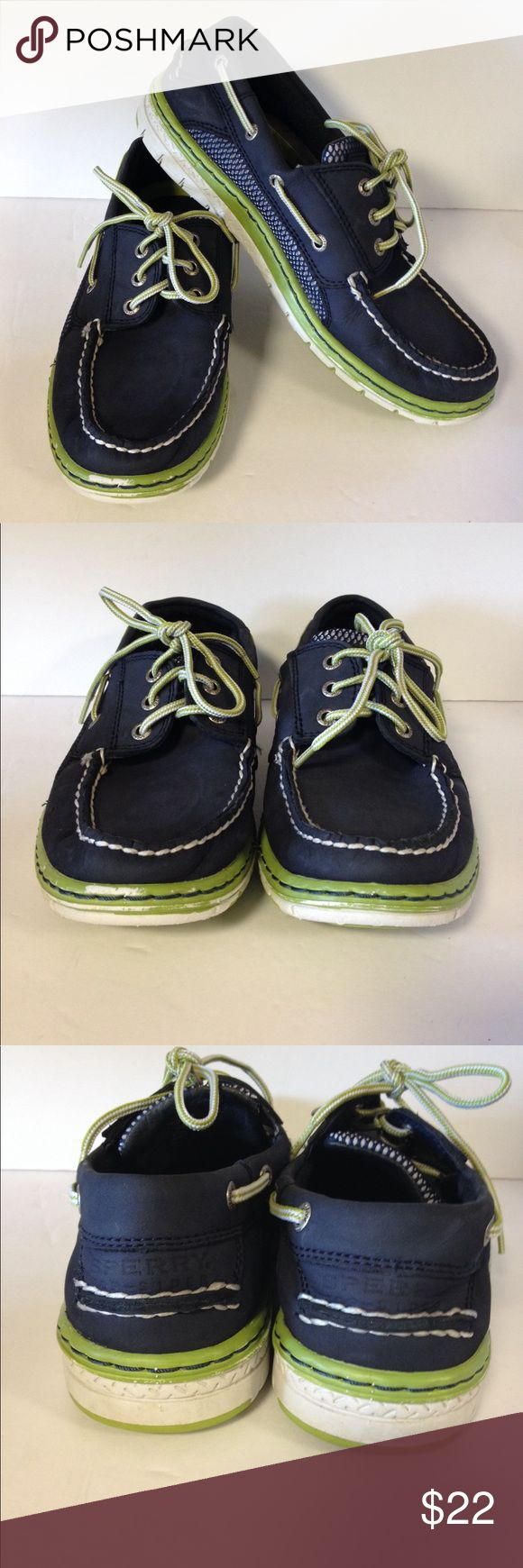 Sperry Top Sider shoes blue green Good preloved condition.  Clean.  Pet and smoke free.  Size 8. Please look at pictures.  Price reflects the toe of shoes has some color missing. Sperry Top-Sider Shoes Boat Shoes