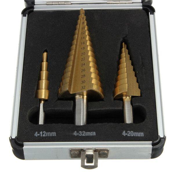 高品質3 ピース 4-12/4-20/4-32高速鋼ステップ ドリル ビット セット ラウンド シャンク